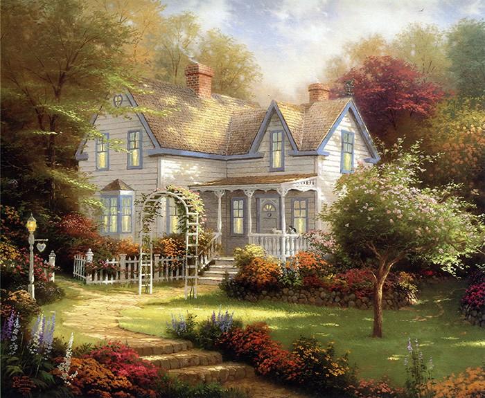 Vẽ tranh đề tài phong cảnh quê hương với những ngôi nhà bình yên