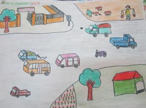 Tranh vẽ an toàn giao thông với thông điệp các loại xe chạy đúng làn đường quy định khi tham gia giao thông