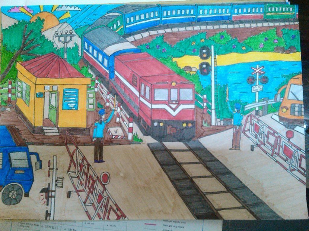 Bức vẽ an toàn giao thông đường sắt đượ nhiều người quan tâm