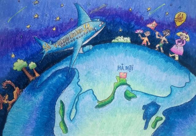 Vẽ tranh đề tài an toàn giao thông hàng không vì hàng không an toàn